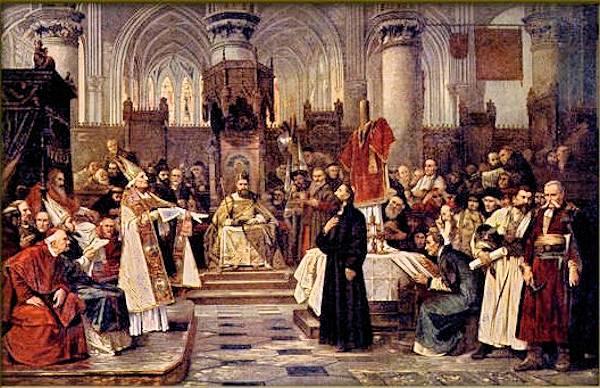 Jan Hus che difende la sue idee davanti al papa, durante il Concilio di Costanza