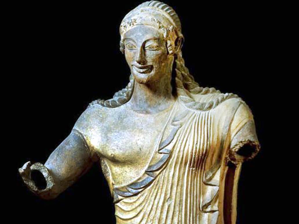 Apollo di Veio, 510 a.C., terracotta dipinta, h 180 cm. Roma, Museo Nazionale Etrusco di Villa Giulia (dal Tempio di Minerva a Portonaccio)