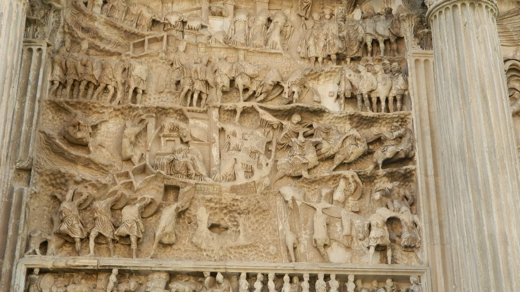 """Arco di Settimio Severo a Roma, pannello sud-ovest con """"L'assedio di Ctsifonte"""""""