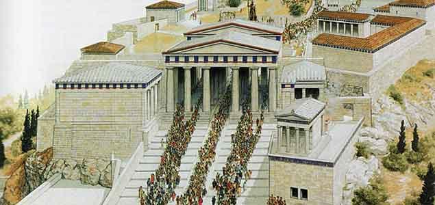 I Propilei, acropoli di Atene, ricostruzione