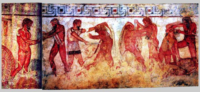 Scena di combattimento, affresco della Tomba François. Roma, Villa Albani, Collezione Torlonia (da Vulci, Viterbo)
