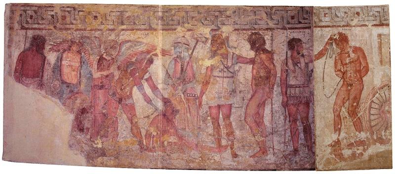 Il sacrificio dei Troiani, affresco dalla Tomba François. Roma, Villa Albani, Collezione Torlonia (da Vulci, Viterbo)